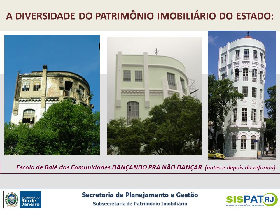 Escola de Balé das Comunidades DANÇANDO PRA NÃO DANÇAR (antes e depois da reforma). A DIVERSIDADE DO PATRIMÔNIO IMOBILIÁRIO DO ESTADO: Secretaria de P