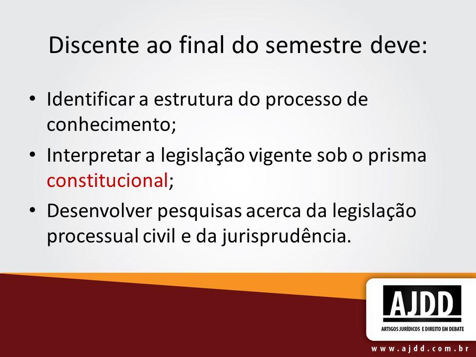 Discente ao final do semestre deve: Identificar a estrutura do processo de conhecimento; Interpretar a legislação vigente sob o prisma constitucional;