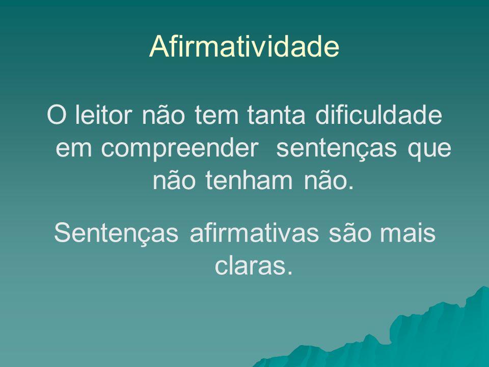 Afirmatividade O leitor não tem tanta dificuldade em compreender sentenças que não tenham não. Sentenças afirmativas são mais claras.