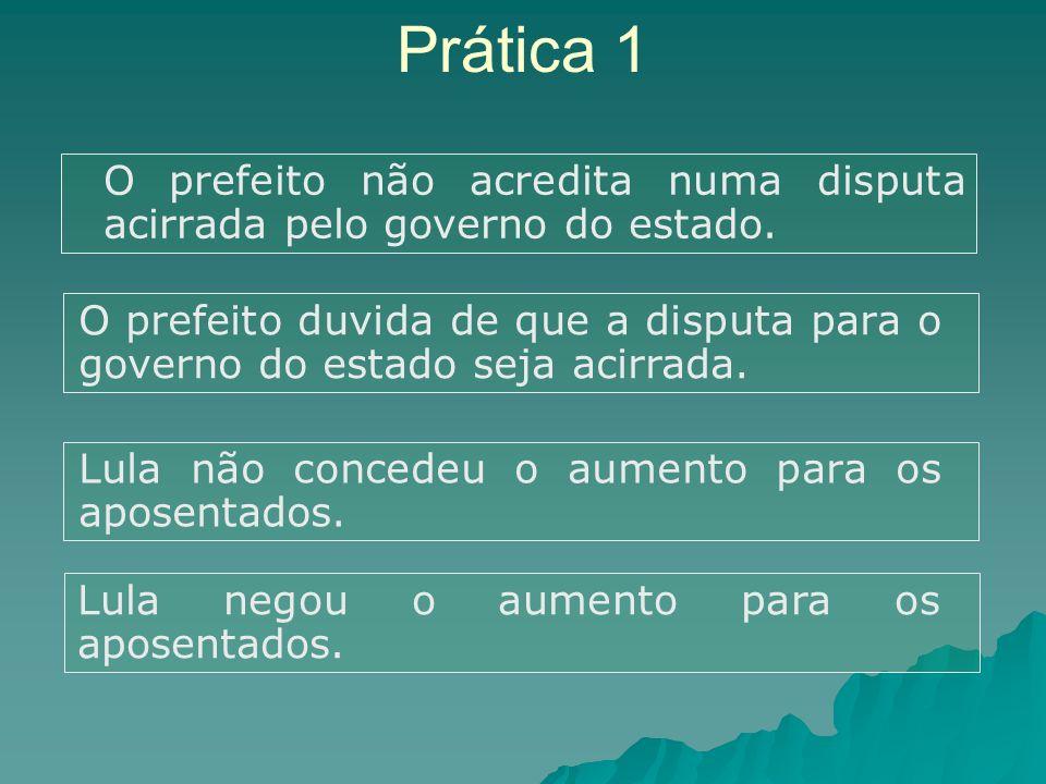 Prática 1 O prefeito não acredita numa disputa acirrada pelo governo do estado.
