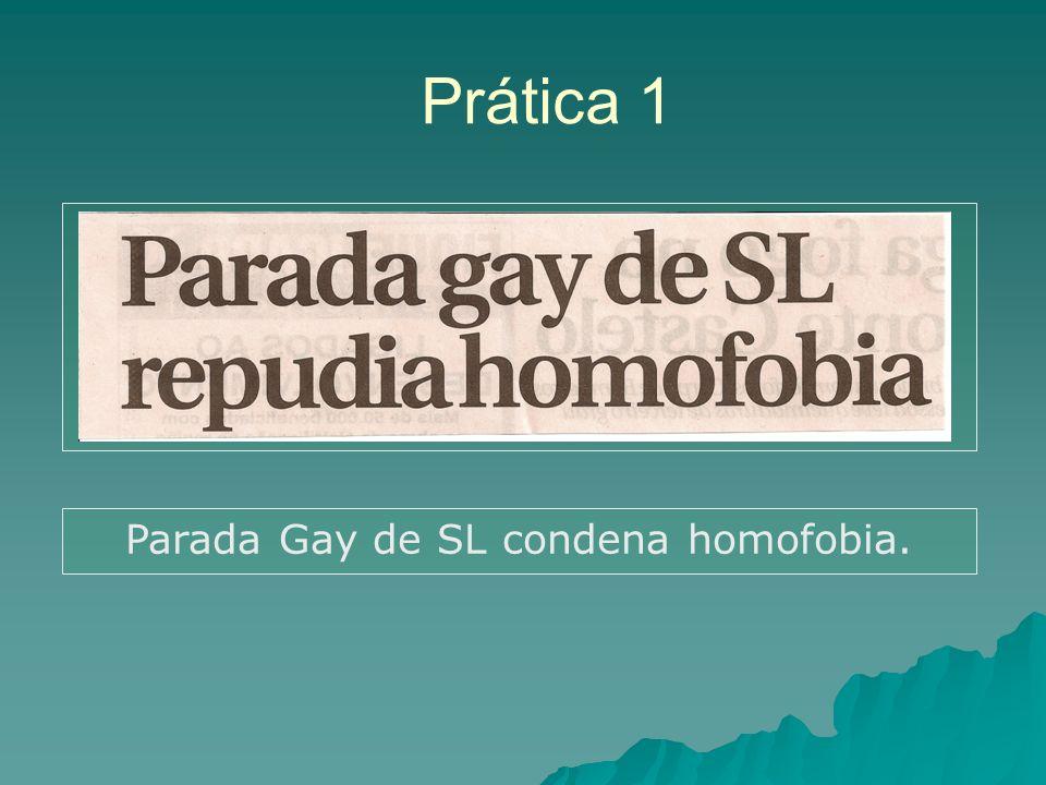 Prática 1 Parada Gay de SL condena homofobia.