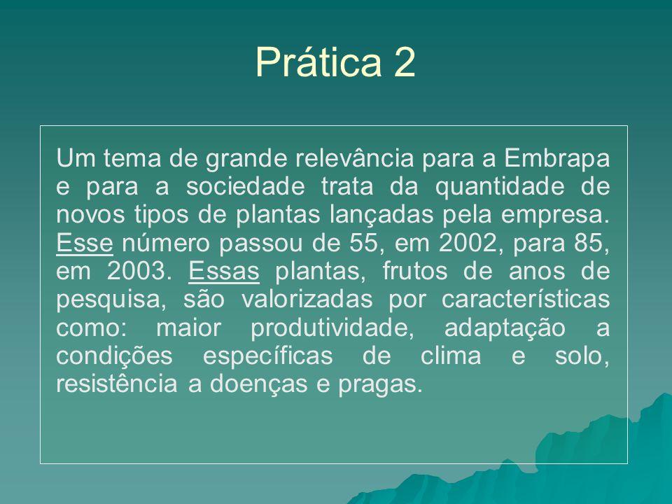 Prática 2 Um tema de grande relevância para a Embrapa e para a sociedade trata da quantidade de novos tipos de plantas lançadas pela empresa.