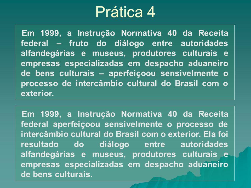 Prática 4 Em 1999, a Instrução Normativa 40 da Receita federal – fruto do diálogo entre autoridades alfandegárias e museus, produtores culturais e emp