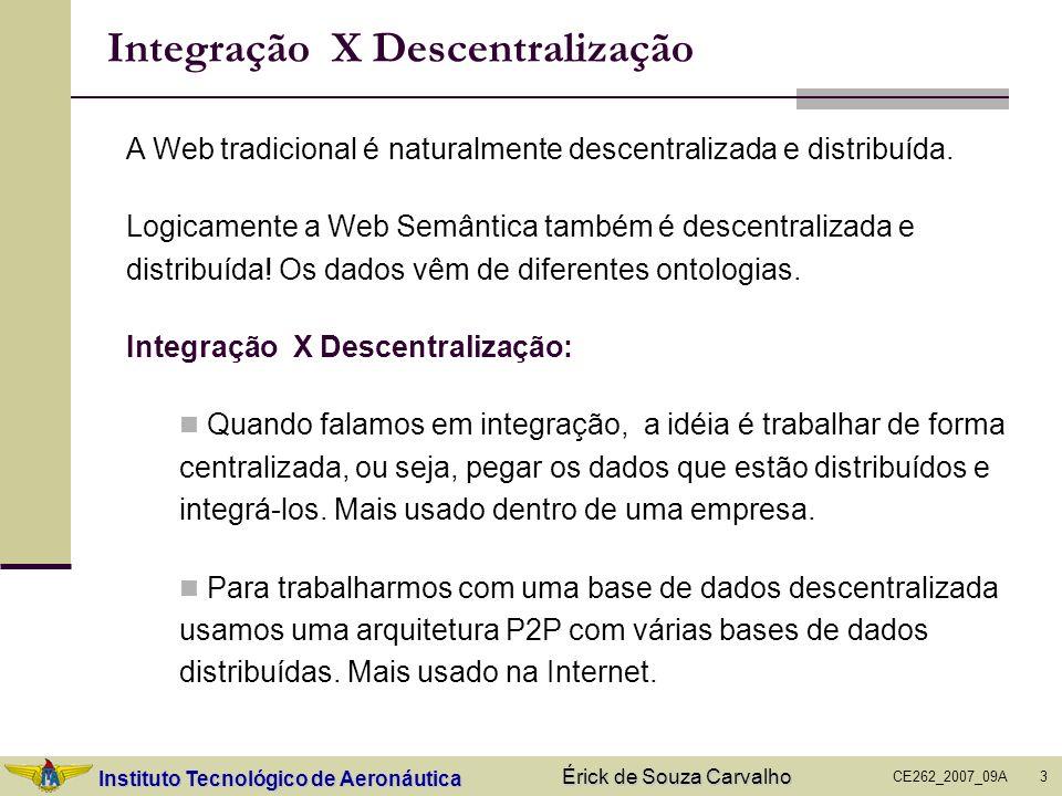 Instituto Tecnológico de Aeronáutica CE262_2007_09A Érick de Souza Carvalho 4 Integração de Bases de Dados Temos duas bases separadas que têm algo em comum, ou que tratam de um mesmo domínio e desejamos transformá-las em uma única base.