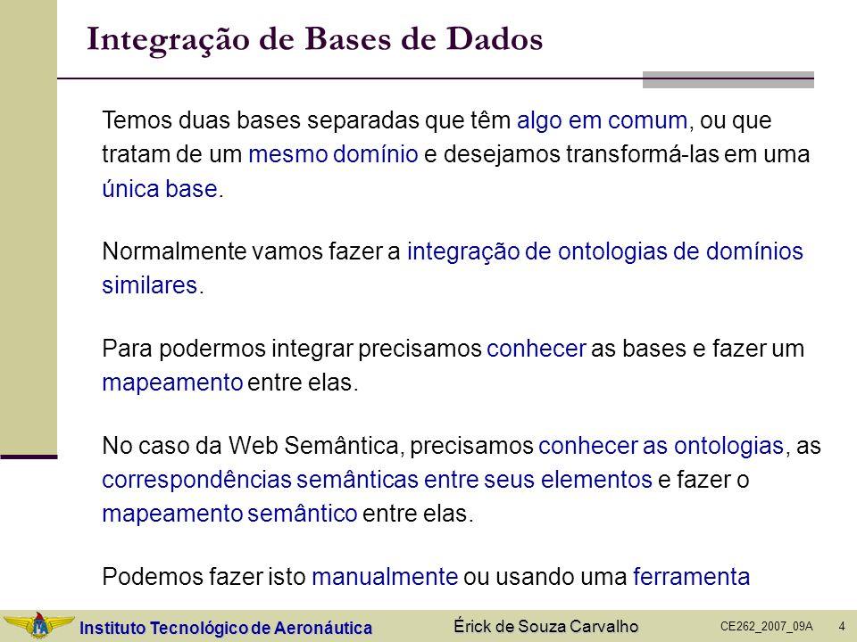 Instituto Tecnológico de Aeronáutica CE262_2007_09A Érick de Souza Carvalho 4 Integração de Bases de Dados Temos duas bases separadas que têm algo em