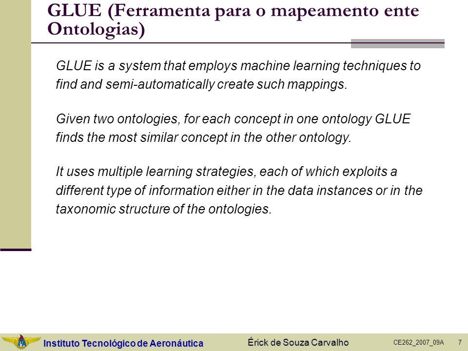 Instituto Tecnológico de Aeronáutica CE262_2007_09A Érick de Souza Carvalho 7 GLUE (Ferramenta para o mapeamento ente Ontologias) GLUE is a system tha
