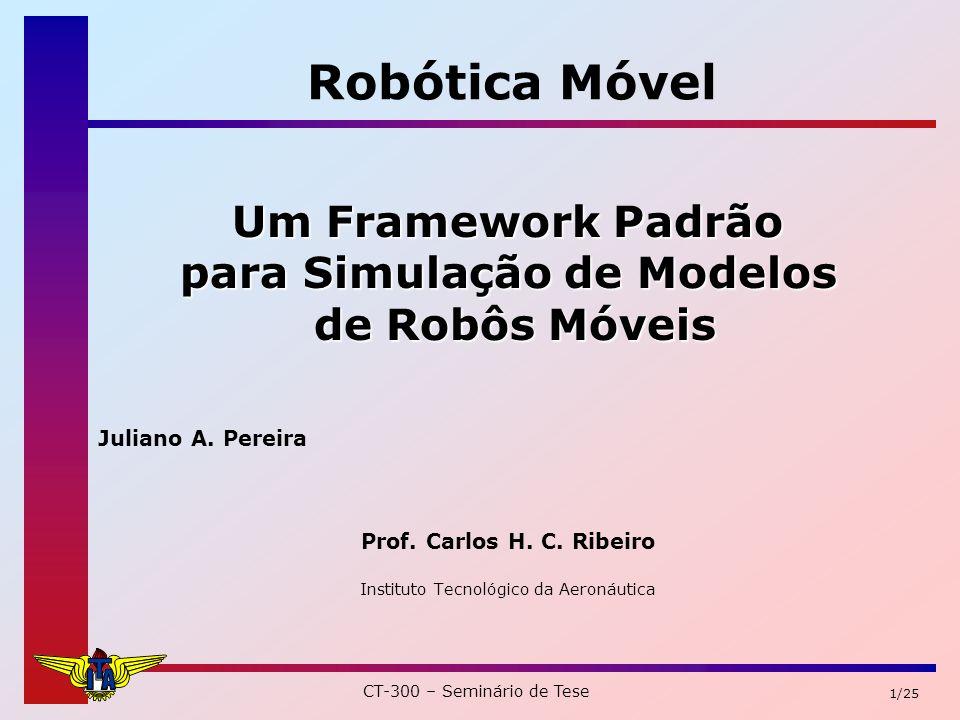CT-300 – Seminário de Tese 12/25 Descrição do Sistema (6) Módulo cliente Enviará comandos ao servidor Simobots ou a um robô real podem ser desde ordens simples de movimentação até comportamentos mais complexos.