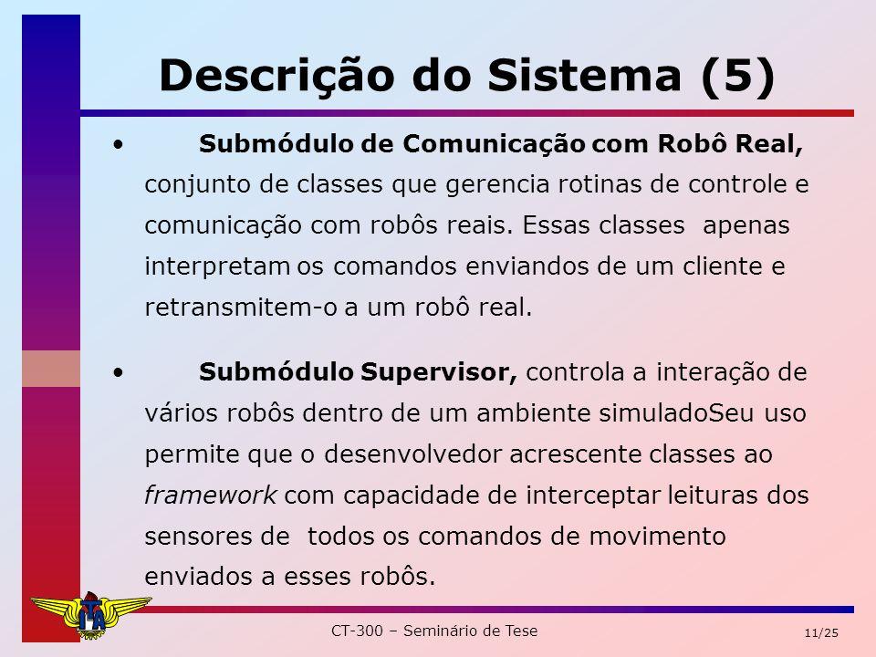 CT-300 – Seminário de Tese 11/25 Descrição do Sistema (5) Submódulo de Comunicação com Robô Real, conjunto de classes que gerencia rotinas de controle e comunicação com robôs reais.