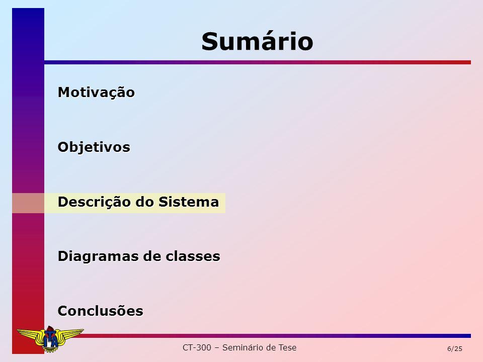 CT-300 – Seminário de Tese 17/25 Sumário MotivaçãoObjetivos Descrição do Sistema Diagramas de classes Conclusões