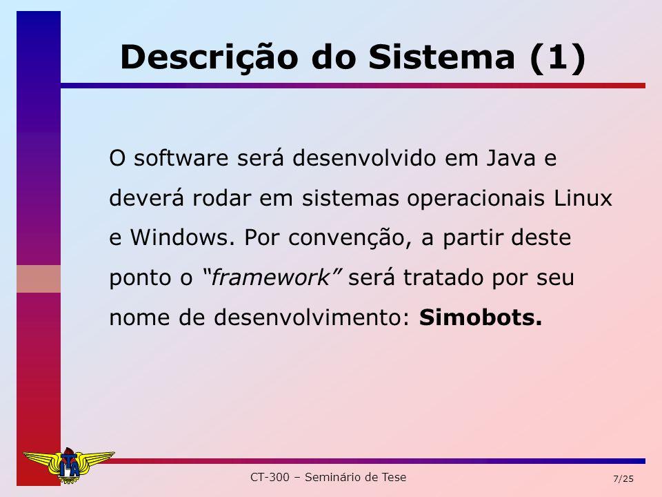 CT-300 – Seminário de Tese 7/25 Descrição do Sistema (1) O software será desenvolvido em Java e deverá rodar em sistemas operacionais Linux e Windows.