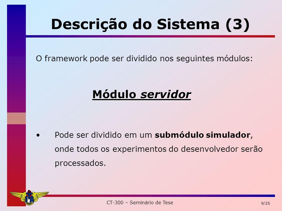 CT-300 – Seminário de Tese 9/25 Descrição do Sistema (3) O framework pode ser dividido nos seguintes módulos: Módulo servidor Pode ser dividido em um submódulo simulador, onde todos os experimentos do desenvolvedor serão processados.