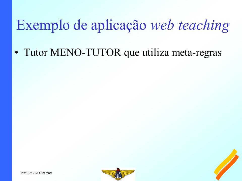 Prof. Dr. J.M.O.Parente Exemplo de aplicação web teaching Tutor MENO-TUTOR que utiliza meta-regras