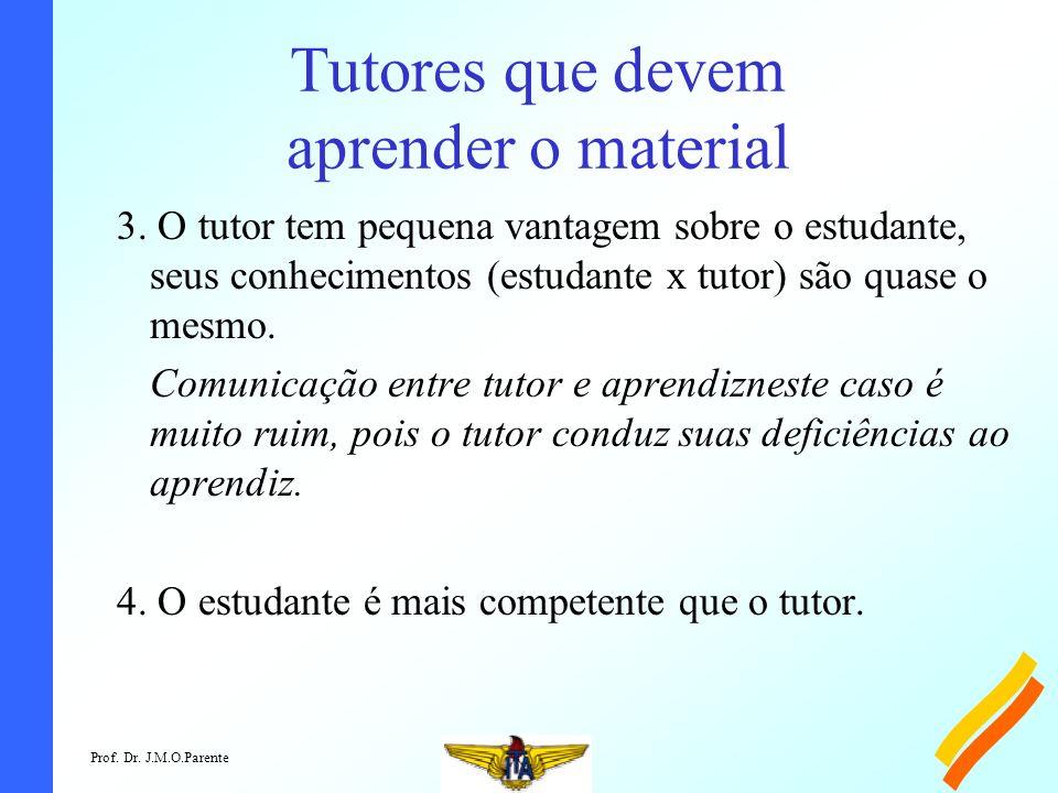 Prof. Dr. J.M.O.Parente Tutores que devem aprender o material 3.
