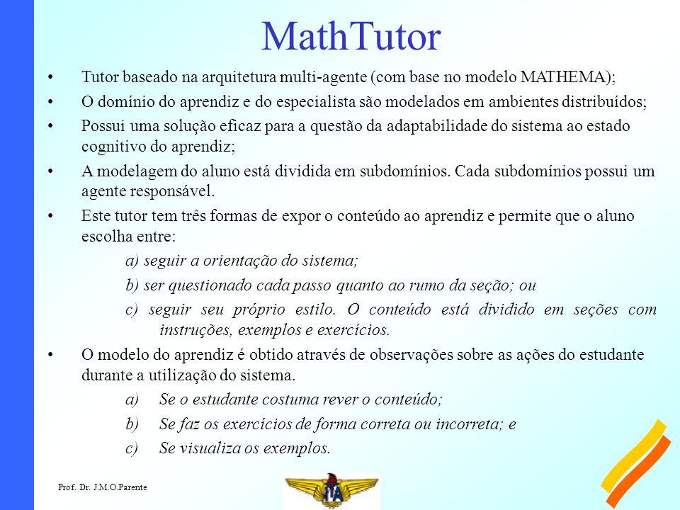 Prof. Dr. J.M.O.Parente MathTutor Tutor baseado na arquitetura multi-agente (com base no modelo MATHEMA); O domínio do aprendiz e do especialista são