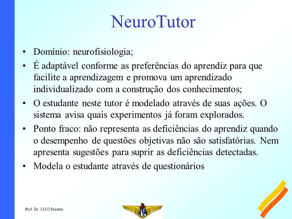 Prof. Dr. J.M.O.Parente NeuroTutor Domínio: neurofisiologia; É adaptável conforme as preferências do aprendiz para que facilite a aprendizagem e promo