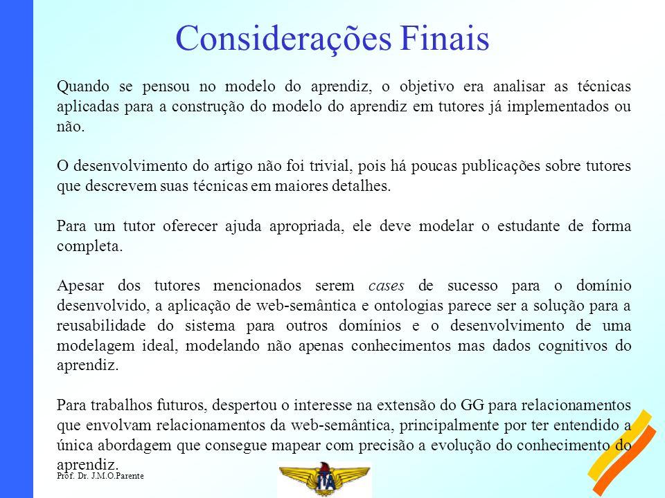 Prof. Dr. J.M.O.Parente Considerações Finais Quando se pensou no modelo do aprendiz, o objetivo era analisar as técnicas aplicadas para a construção d