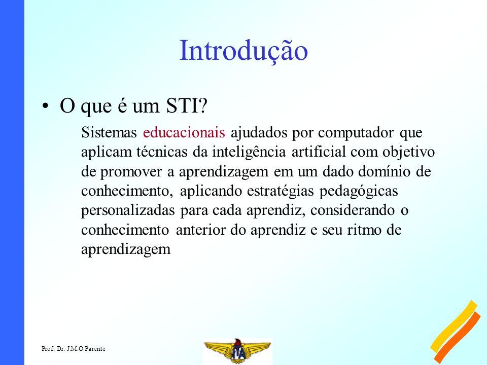 Prof. Dr. J.M.O.Parente Introdução O que é um STI? Sistemas educacionais ajudados por computador que aplicam técnicas da inteligência artificial com o