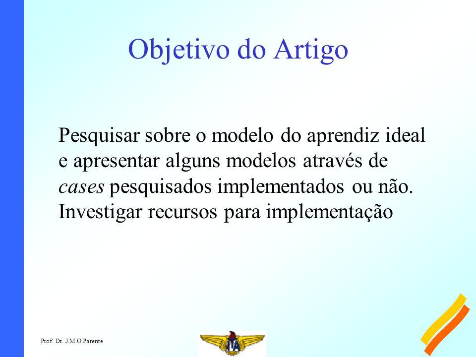 Prof. Dr. J.M.O.Parente Objetivo do Artigo Pesquisar sobre o modelo do aprendiz ideal e apresentar alguns modelos através de cases pesquisados impleme