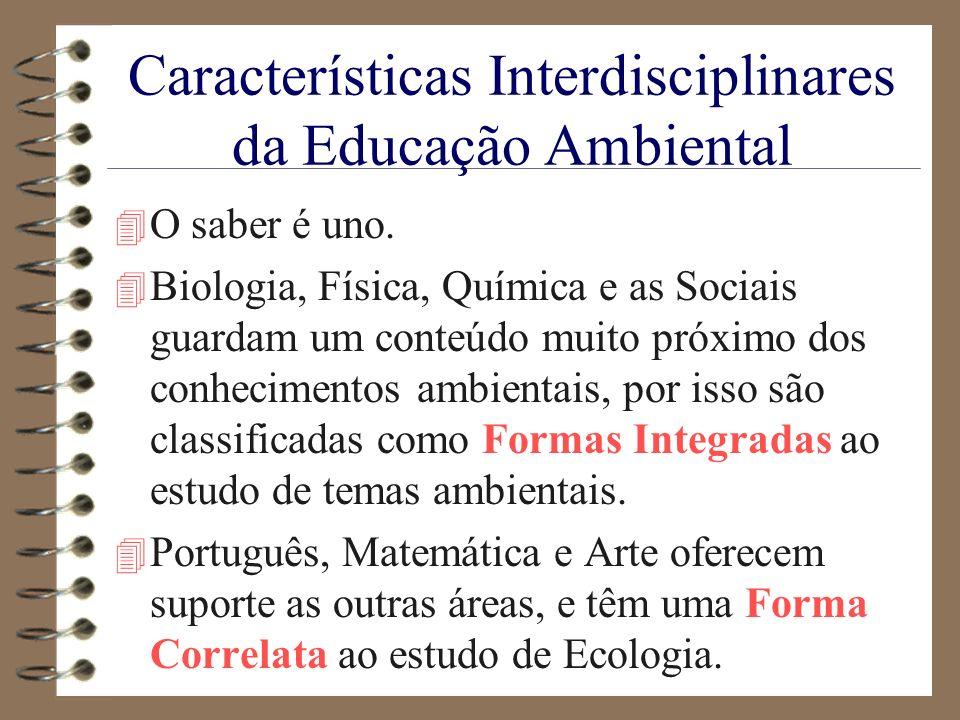 Características Interdisciplinares da Educação Ambiental 4 O saber é uno. 4 Biologia, Física, Química e as Sociais guardam um conteúdo muito próximo d