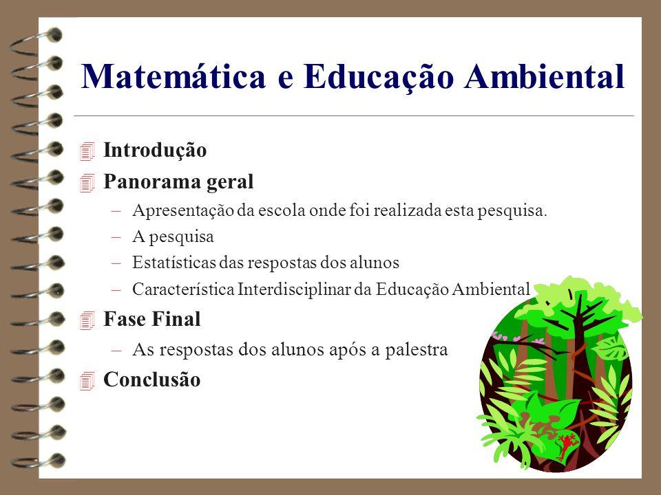 Matemática e Educação Ambiental 4 Introdução 4 Panorama geral –Apresentação da escola onde foi realizada esta pesquisa. –A pesquisa –Estatísticas das