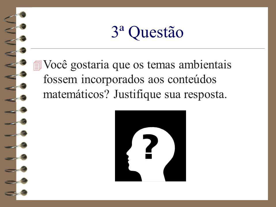 3ª Questão 4 Você gostaria que os temas ambientais fossem incorporados aos conteúdos matemáticos? Justifique sua resposta.