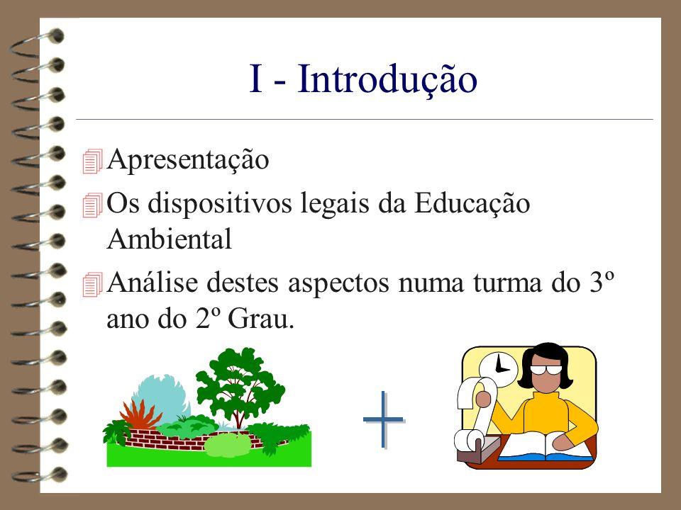 I - Introdução 4 Apresentação 4 Os dispositivos legais da Educação Ambiental 4 Análise destes aspectos numa turma do 3º ano do 2º Grau.