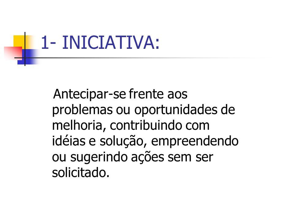 1- INICIATIVA: Antecipar-se frente aos problemas ou oportunidades de melhoria, contribuindo com idéias e solução, empreendendo ou sugerindo ações sem