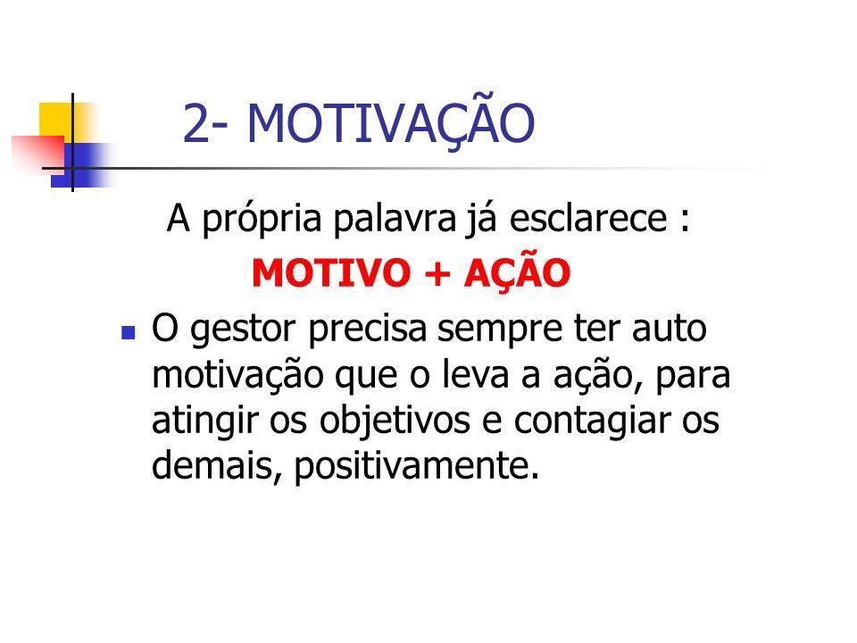 2- MOTIVAÇÃO A própria palavra já esclarece : MOTIVO + AÇÃO O gestor precisa sempre ter auto motivação que o leva a ação, para atingir os objetivos e