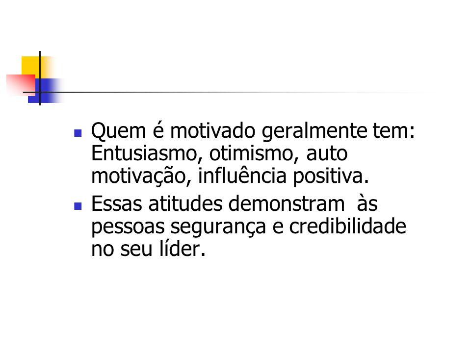 Quem é motivado geralmente tem: Entusiasmo, otimismo, auto motivação, influência positiva. Essas atitudes demonstram às pessoas segurança e credibilid