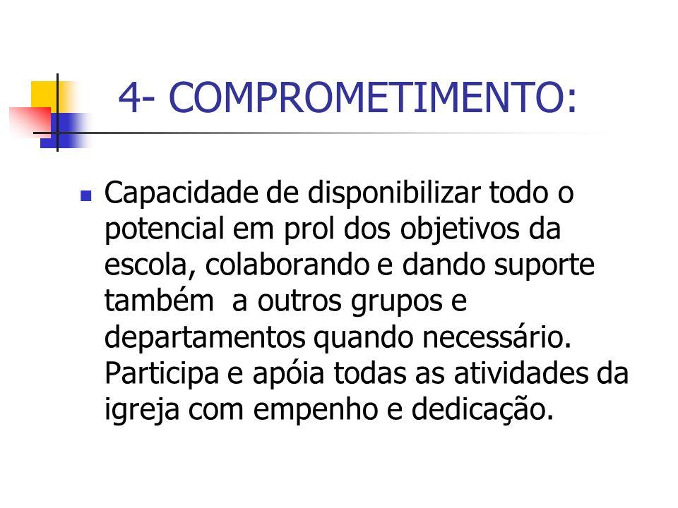 4- COMPROMETIMENTO: Capacidade de disponibilizar todo o potencial em prol dos objetivos da escola, colaborando e dando suporte também a outros grupos