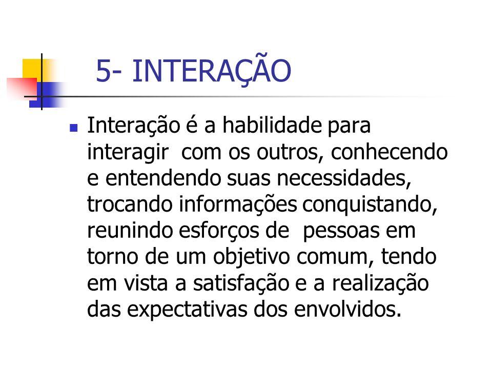 5- INTERAÇÃO Interação é a habilidade para interagir com os outros, conhecendo e entendendo suas necessidades, trocando informações conquistando, reun