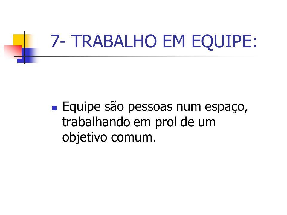7- TRABALHO EM EQUIPE: Equipe são pessoas num espaço, trabalhando em prol de um objetivo comum.