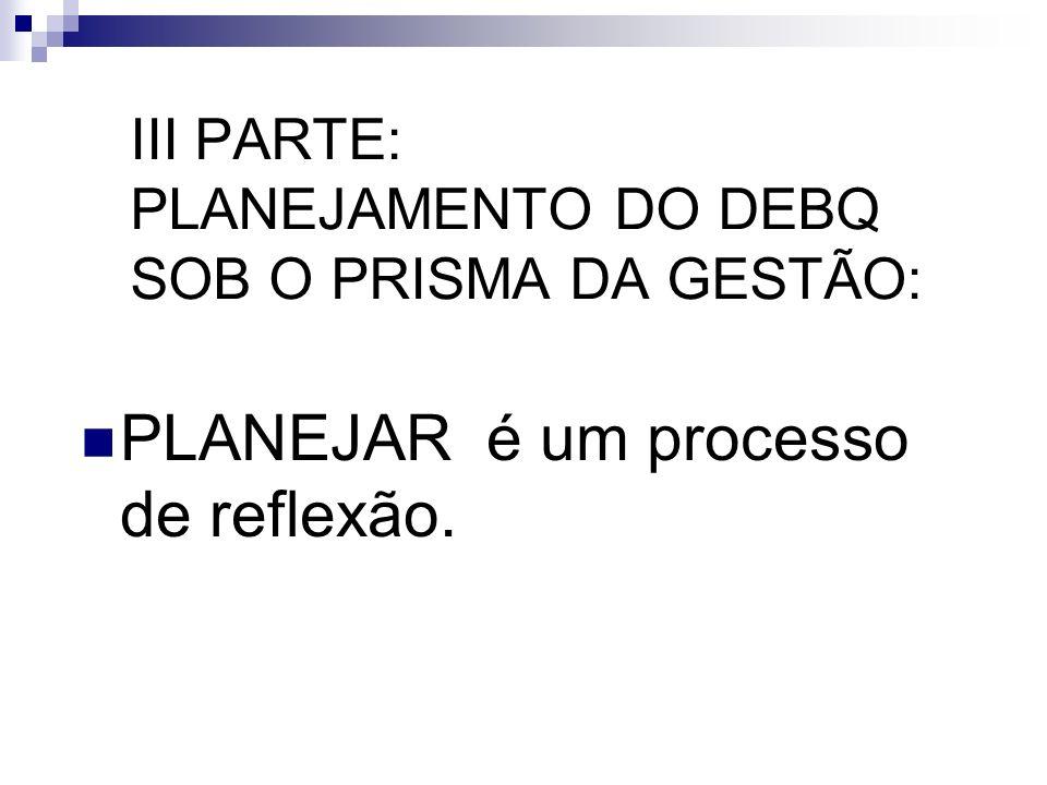 III PARTE: PLANEJAMENTO DO DEBQ SOB O PRISMA DA GESTÃO: PLANEJAR é um processo de reflexão.