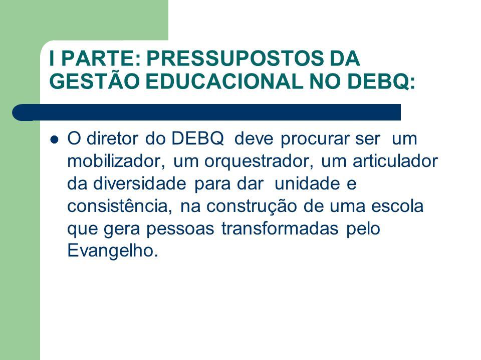 I PARTE: PRESSUPOSTOS DA GESTÃO EDUCACIONAL NO DEBQ: O diretor do DEBQ deve procurar ser um mobilizador, um orquestrador, um articulador da diversidad