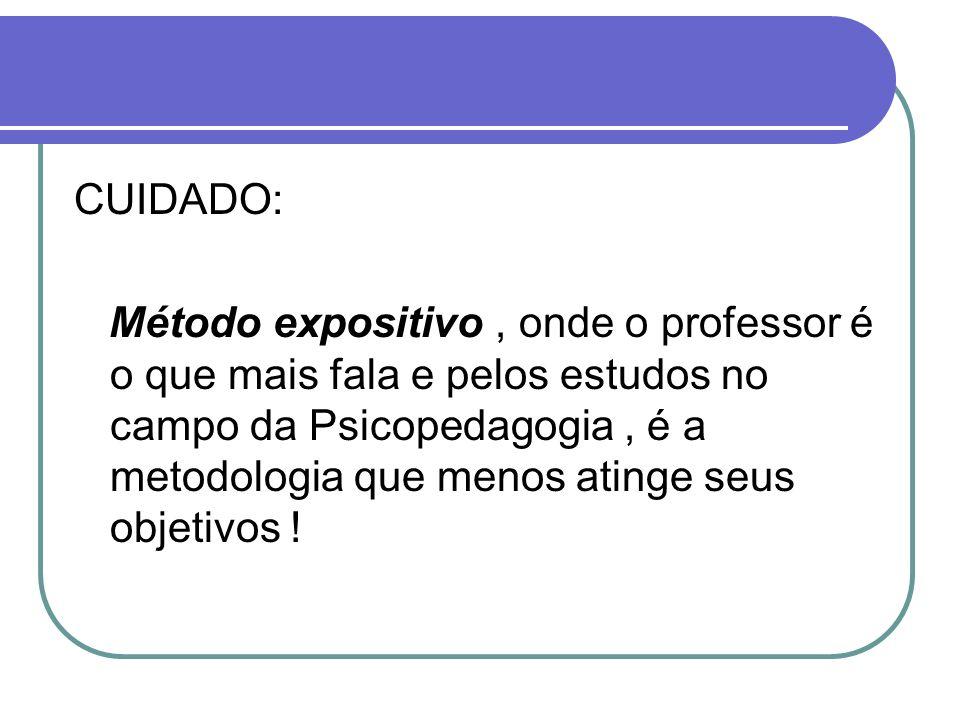 CUIDADO: Método expositivo, onde o professor é o que mais fala e pelos estudos no campo da Psicopedagogia, é a metodologia que menos atinge seus objet