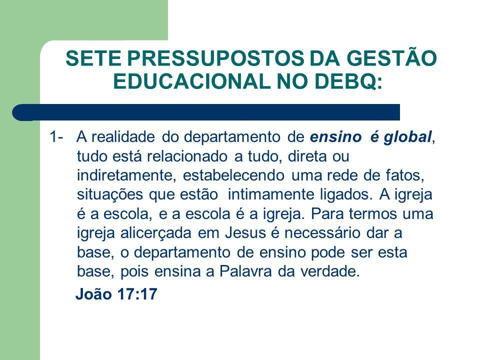 SETE PRESSUPOSTOS DA GESTÃO EDUCACIONAL NO DEBQ: 1- A realidade do departamento de ensino é global, tudo está relacionado a tudo, direta ou indiretame