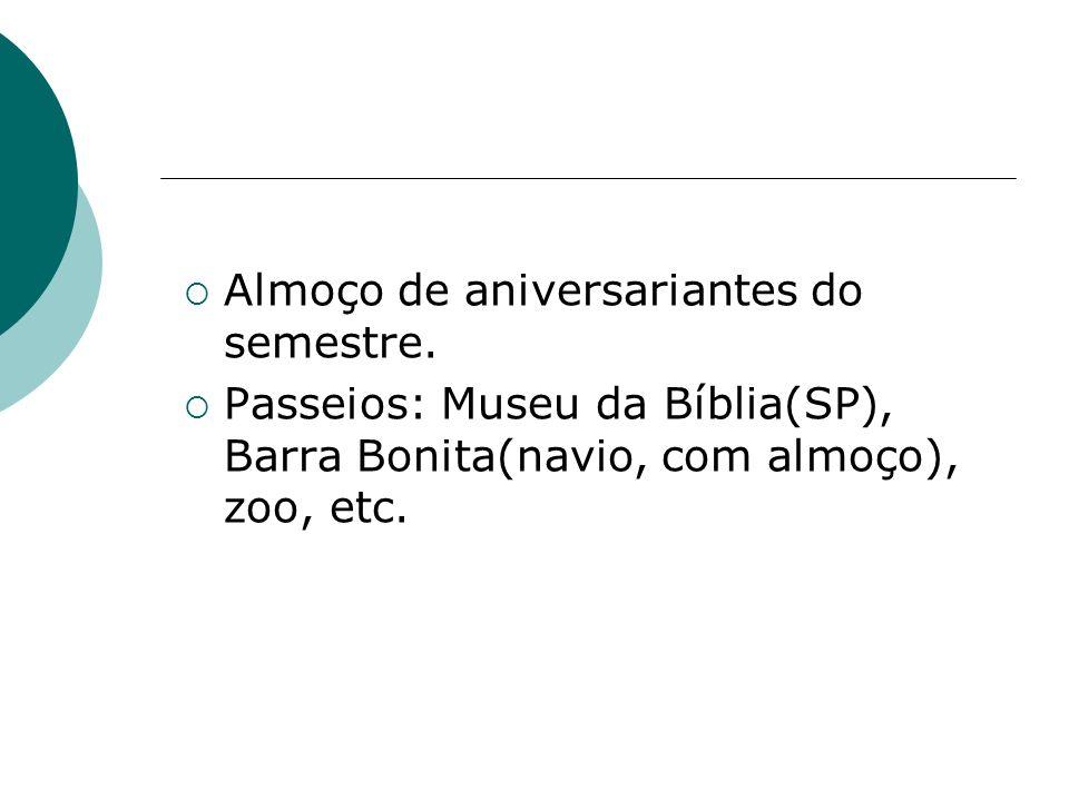 Almoço de aniversariantes do semestre. Passeios: Museu da Bíblia(SP), Barra Bonita(navio, com almoço), zoo, etc.