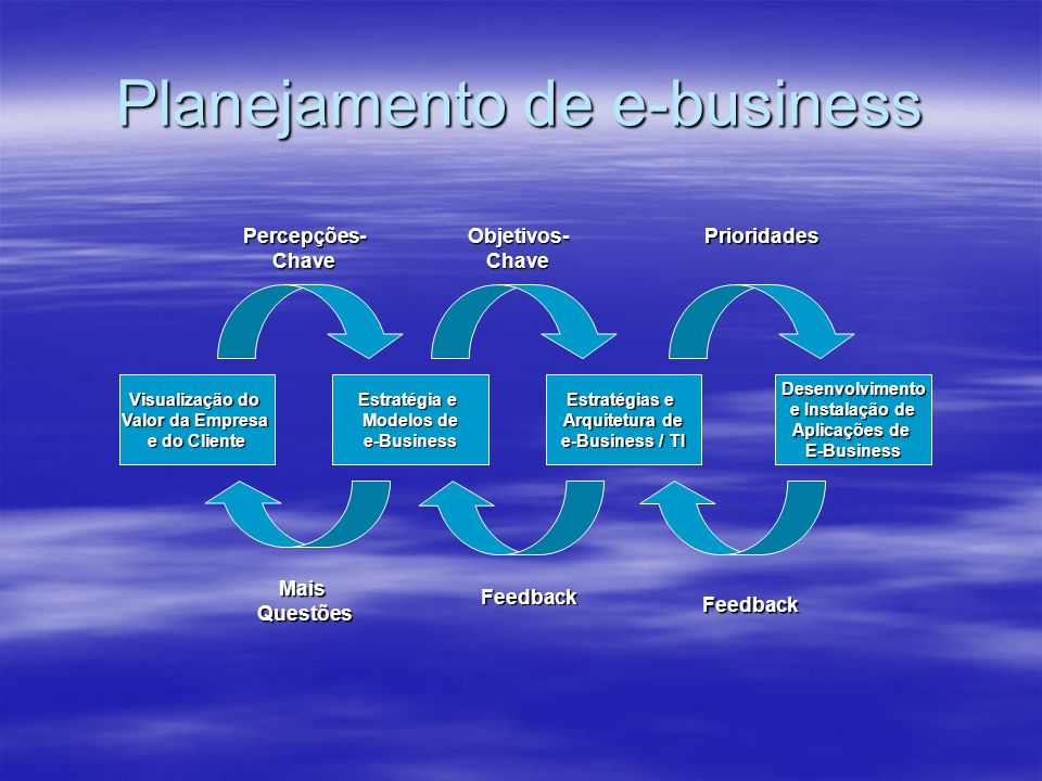 Planejamento de e-business Visualização do Valor da Empresa e do Cliente Estratégia e Modelos de e-Business Estratégias e Arquitetura de e-Business /
