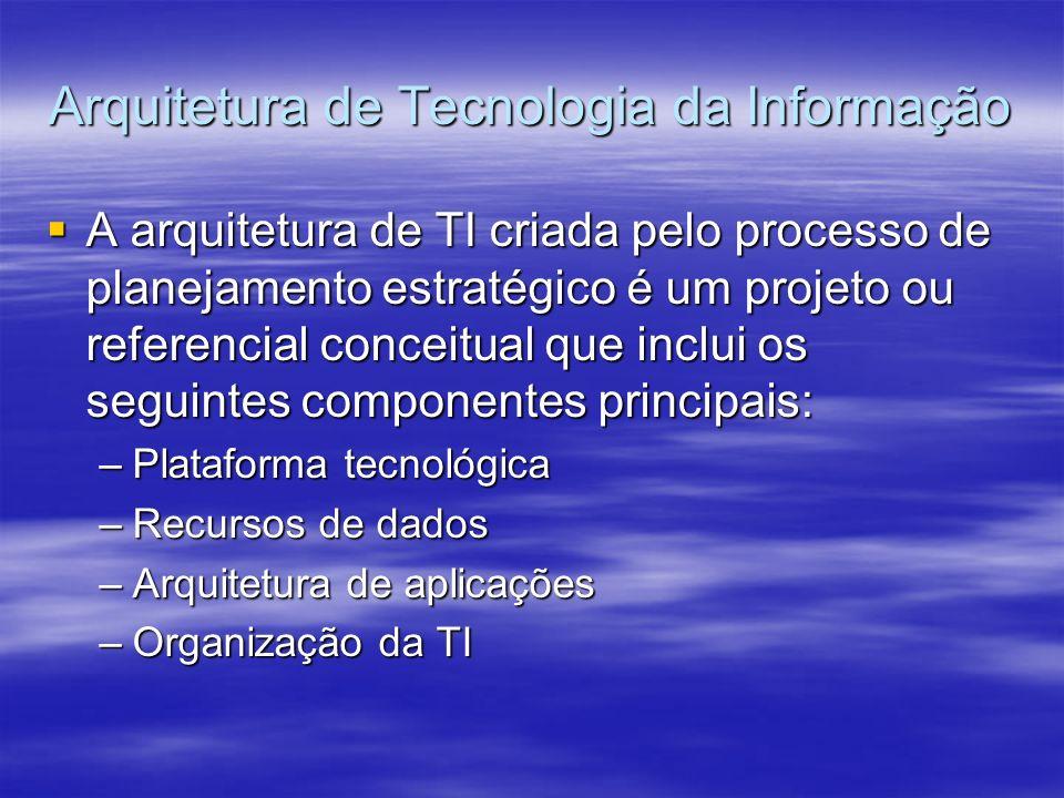 Arquitetura de Tecnologia da Informação A arquitetura de TI criada pelo processo de planejamento estratégico é um projeto ou referencial conceitual qu