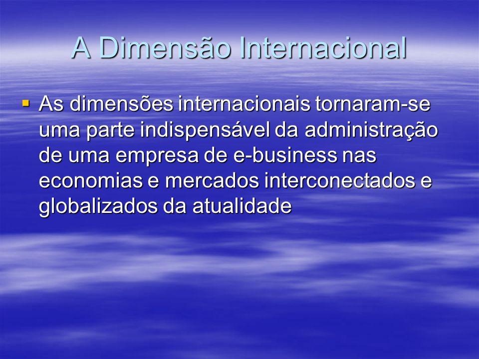 A Dimensão Internacional As dimensões internacionais tornaram-se uma parte indispensável da administração de uma empresa de e-business nas economias e