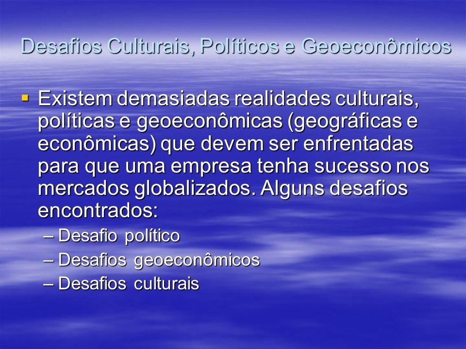 Desafios Culturais, Políticos e Geoeconômicos Existem demasiadas realidades culturais, políticas e geoeconômicas (geográficas e econômicas) que devem