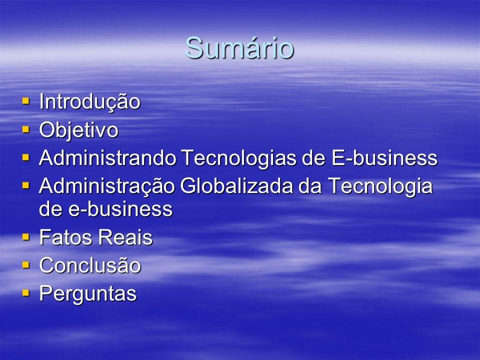 Sumário Introdução Introdução Objetivo Objetivo Administrando Tecnologias de E-business Administrando Tecnologias de E-business Administração Globaliz