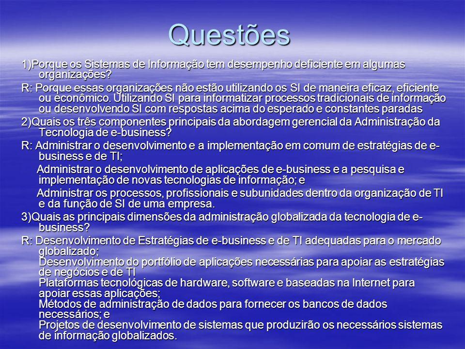 Questões 1)Porque os Sistemas de Informação tem desempenho deficiente em algumas organizações? R: Porque essas organizações não estão utilizando os SI