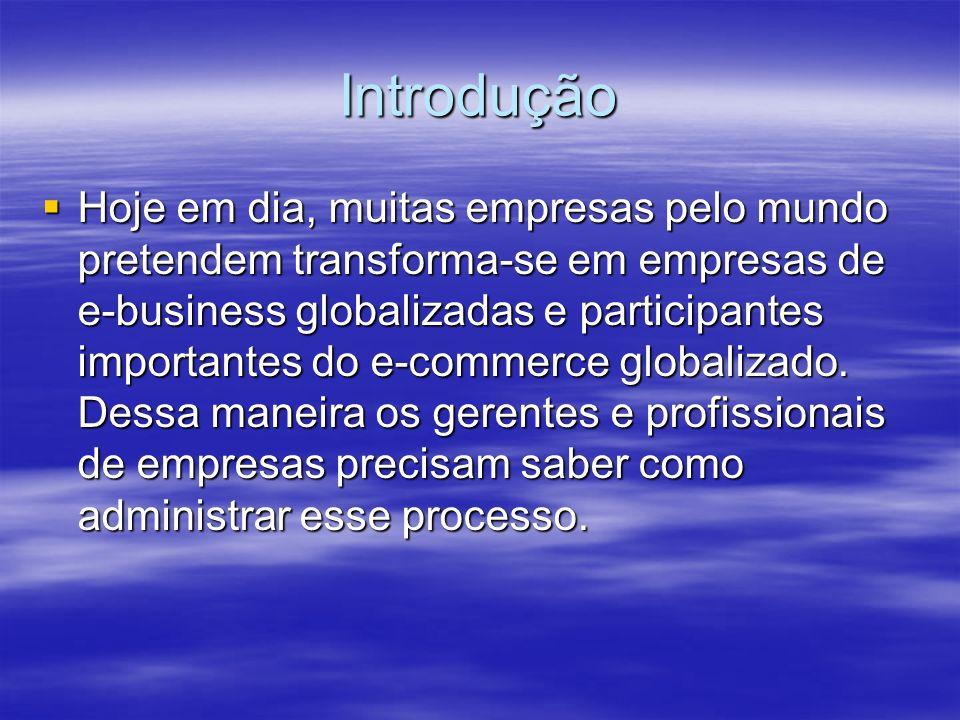 Introdução Hoje em dia, muitas empresas pelo mundo pretendem transforma-se em empresas de e-business globalizadas e participantes importantes do e-com