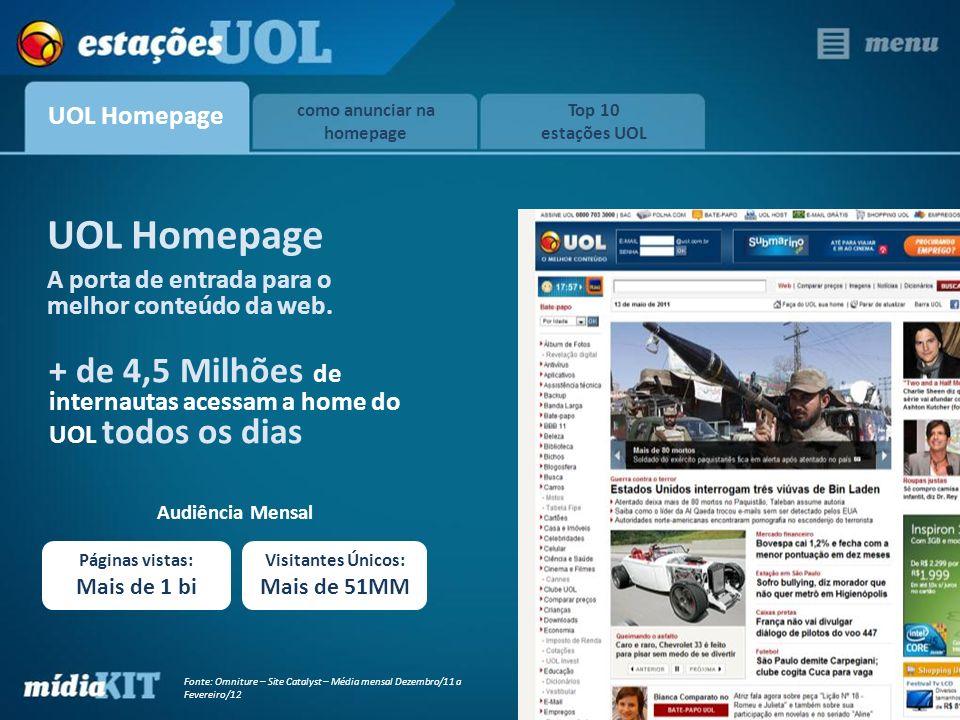 Fonte: Omniture – Site Catalyst – Média mensal Dezembro/11 a Fevereiro/12 A porta de entrada para o melhor conteúdo da web. UOL Homepage + de 4,5 Milh