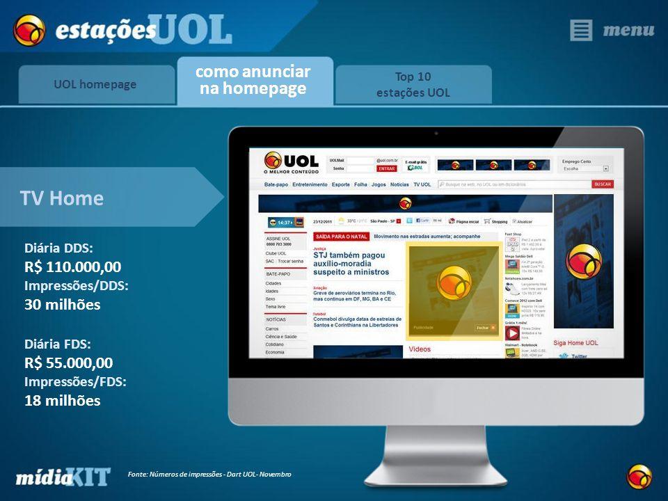 TV Home UOL homepage Top 10 estações UOL como anunciar na homepage Diária DDS: R$ 110.000,00 Impressões/DDS: 30 milhões Diária FDS: R$ 55.000,00 Impre