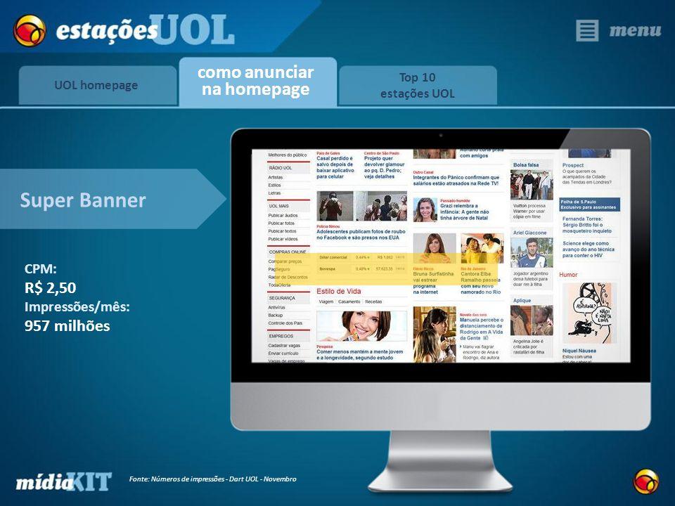 UOL homepage Top 10 estações UOL como anunciar na homepage Super Banner CPM: R$ 2,50 Impressões/mês: 957 milhões Fonte: Números de impressões - Dart U