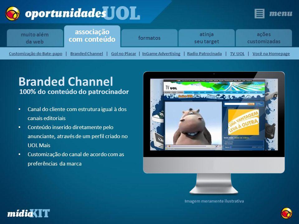 associação com conteúdo muito além da web formatos atinja seu target ações customizadas Canal do cliente com estrutura igual à dos canais editoriais C