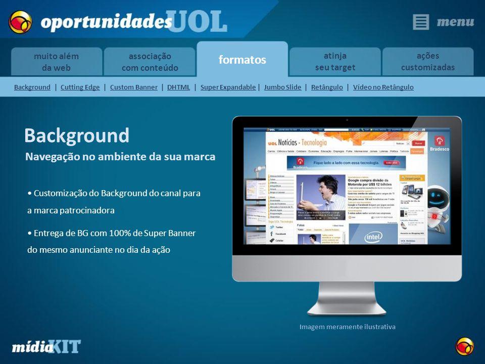 formatos muito além da web atinja seu target ações customizadas associação com conteúdo Background Customização do Background do canal para a marca pa
