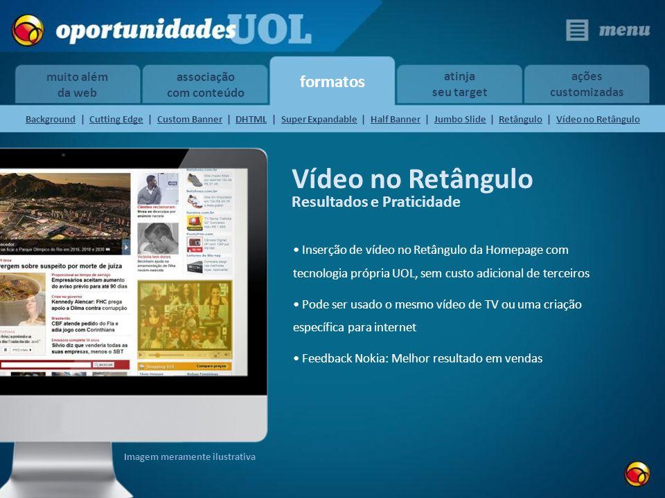 formatos muito além da web atinja seu target ações customizadas associação com conteúdo Vídeo no Retângulo Inserção de vídeo no Retângulo da Homepage
